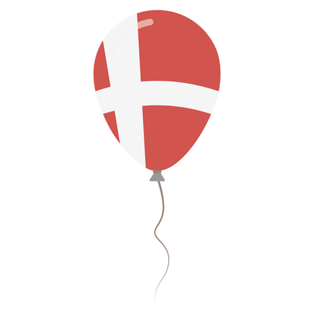Kingdom of Denmark national colors isolated balloon on white background. Independence day patriotic poster. Flat style National day vector illustration.
