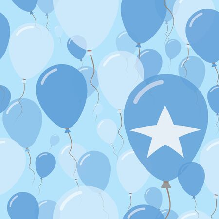 Somalia National Day Flat Seamless Pattern. Flying Celebration Balloons in Colors of Somali Flag. Happy Independence Day Background with Flags and Balloons. Illustration