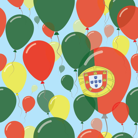 Portugal National Day Flat Seamless Pattern. Flying Celebration Balloons in Colors of Portuguese Flag. Happy Independence Day Background with Flags and Balloons.