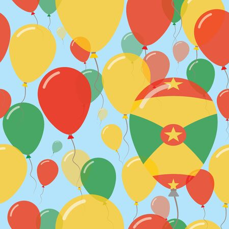 Grenada National Day Flat Seamless Pattern. Flying Celebration Balloons in Colors of Grenadian Flag. Happy Independence Day Background with Flags and Balloons.