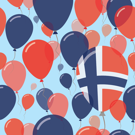 Norway National Day Flat Seamless Pattern. Flying Celebration Balloons in Colors of Norwegian Flag. Happy Independence Day Background with Flags and Balloons.