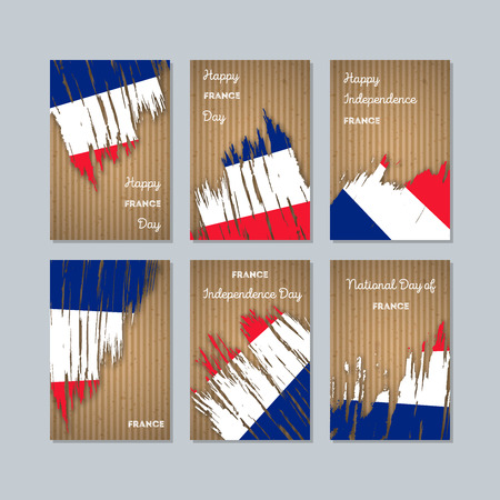 France Patriotic Cards for National Day. Expressive Brush Stroke in National Flag Colors on kraft paper background. France Patriotic Vector Greeting Card.