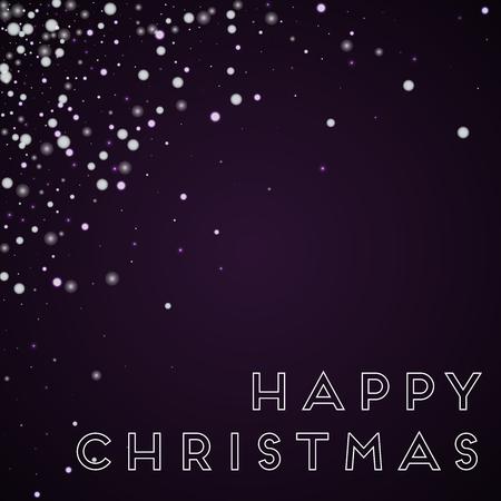 Happy Christmas greeting card. Beautiful falling snow background. Beautiful falling snow on deep purple background. Delightful vector illustration. Illustration
