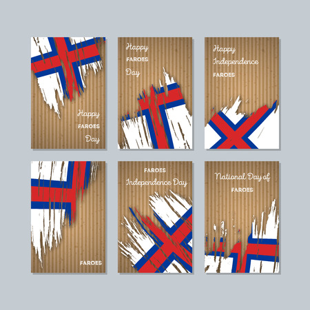 Faroes Patriotic Cards for National Day. Expressive Brush Stroke in National Flag Colors on kraft paper background. Faroes Patriotic Vector Greeting Card.