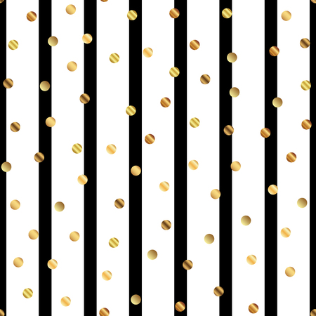 Golden dots seamless pattern on black and white striped background.