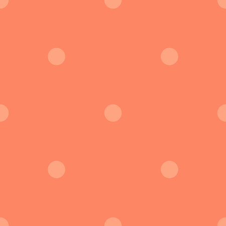 Light polka dots seamless pattern on coral background. Ideal classic light polka dots textile pattern in restrained colours. Seamless scattered confetti fall chaotic decor. Vector illustration. Illustration