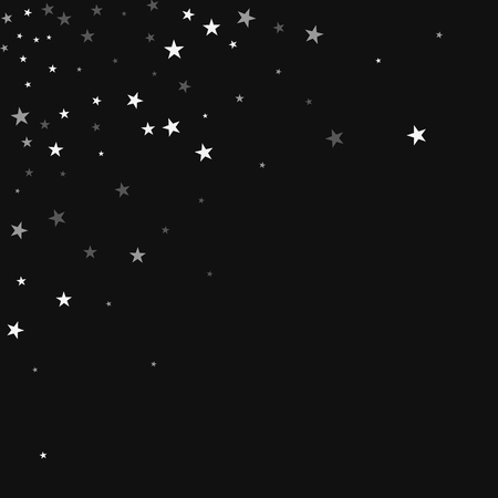 Random falling stars. Scattered top left corner with random falling stars on black background. Alluring Vector illustration.