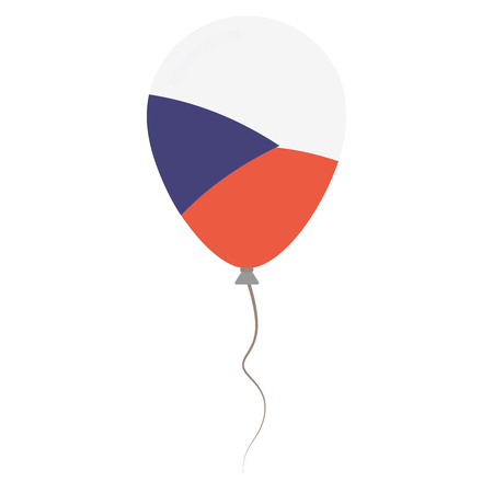 Czech Republic national colors isolated balloon on white background. Independence day patriotic poster. Flat style National day vector illustration.