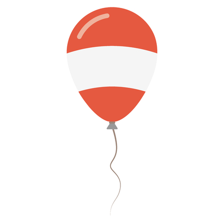 Republic of Austria national colors isolated balloon on white background. Independence day patriotic poster. Flat style National day vector illustration.