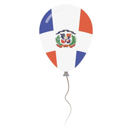 Dominican Republic national colors isolated balloon on white background. Independence day patriotic poster. Flat style National day vector illustration.