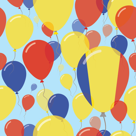 rom: Romania National Day Flat Seamless Pattern. Flying Celebration Balloons in Colors of Romanian Flag. Happy Independence Day Background with Flags and Balloons. Illustration