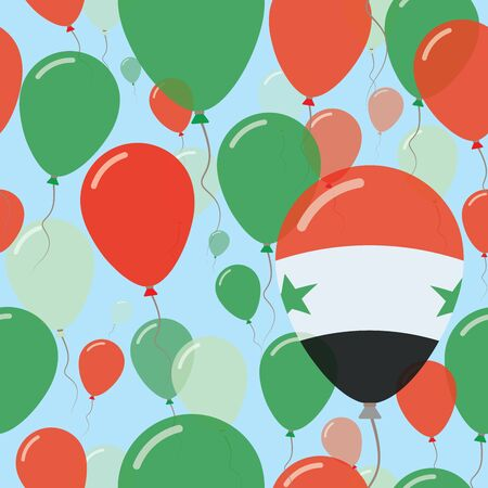 Syrian Arab Republic National Day Flat Seamless Pattern. Flying Celebration Balloons in Colors of Syrian Flag. Happy Independence Day Background with Flags and Balloons.