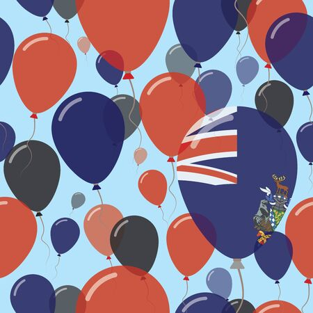 South Georgia and the South Sandwich Islands National Day Flat Seamless Pattern. Flying Celebration Balloons in Colors of South Georgia and the South Sandwich Islander Flag. Illustration