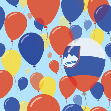 Slovenia National Day Flat Seamless Pattern. Flying Celebration Balloons in Colors of Slovene Flag. Happy Independence Day Background with Flags and Balloons.