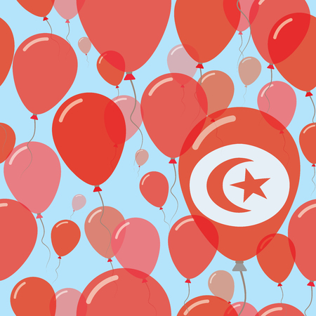 Tunisia National Day Flat Seamless Pattern. Flying Celebration Balloons in Colors of Tunisian Flag. Happy Independence Day Background with Flags and Balloons.