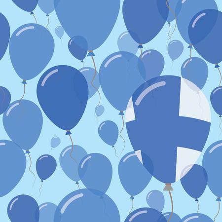 Finsky národní den plochý bezešvé vzor. Létající balóny s oslavami v barvách finské vlajky. Šťastný den nezávislosti pozadí s vlajkami a balónky.