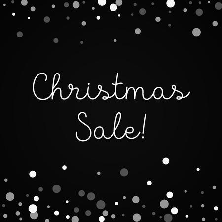 Christmas Sale greeting card. Falling white dots background. Falling white dots on red background. Elegant vector illustration.