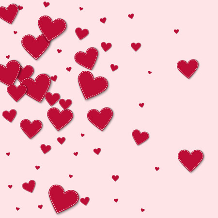 Red stitched paper hearts. Left gradient on light pink background. Vector illustration.