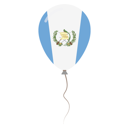 guatemalan: Republic of Guatemala national colors isolated balloon on white background. Independence day patriotic poster. Flat style National day vector illustration.