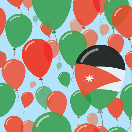 Jordan National Day Flat Seamless Pattern. Flying Celebration Balloons in Colors of Jordanian Flag. Happy Independence Day Background with Flags and Balloons. Illustration