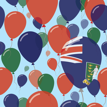 Virgin Islands, British National Day Flat Seamless Pattern. Flying Celebration Balloons in Colors of Virgin Islander Flag. Happy Independence Day Background with Flags and Balloons. Illustration