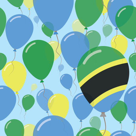 Tanzania, United Republic of National Day Flat Seamless Pattern. Flying Celebration Balloons in Colors of Tanzanian Flag. Happy Independence Day Background with Flags and Balloons.
