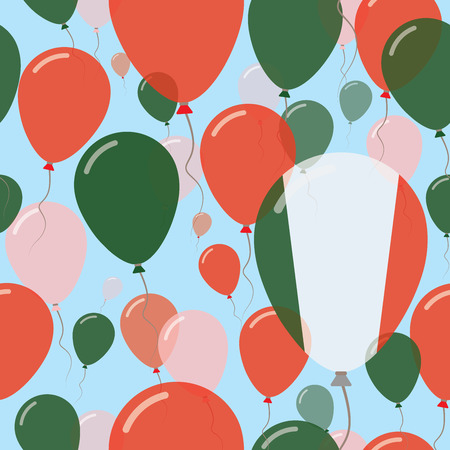 Italy National Day Flat Seamless Pattern. Flying Celebration Balloons in Colors of Italian Flag. Happy Independence Day Background with Flags and Balloons.