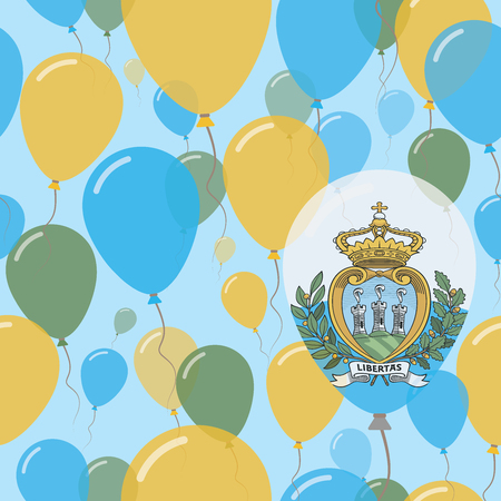 San Marino National Day Flat Seamless Pattern. Flying Celebration Balloons in Colors of Sammarinese Flag. Happy Independence Day Background with Flags and Balloons.