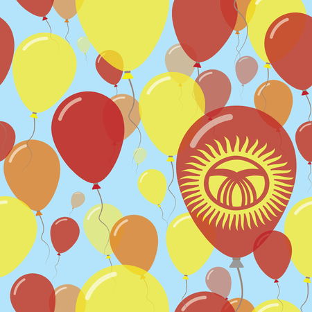 Kyrgyzstan National Day Flat Seamless Pattern. Flying Celebration Balloons in Colors of Kirghiz Flag. Happy Independence Day Background with Flags and Balloons.