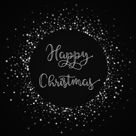 Happy Christmas greeting card. Amazing falling stars background. Amazing falling stars on black background. Illustration