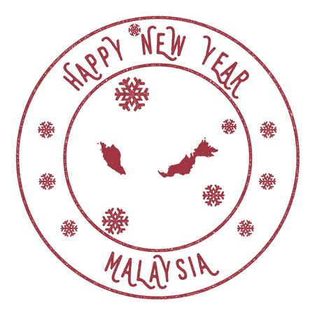 Retro Happy New Year Malaysia Stamp. Stylised rubber stamp with county map and Happy New Year text, vector illustration. Illustration