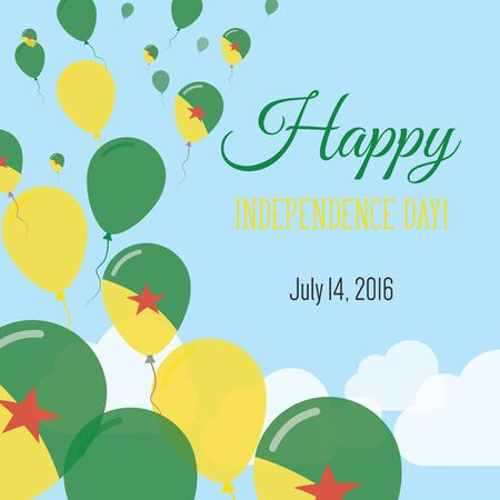 Independence Day Flat Greeting Card. French Guiana Independence Day. French Guiana Flag Balloons Patriotic Poster. Happy National Day Vector Illustration.