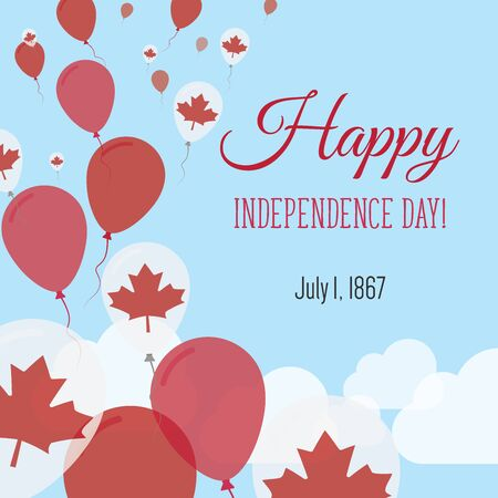 Independence Day Flat Greeting Card. Canada Independence Day. Canadian Flag Balloons Patriotic Poster. Happy National Day Vector Illustration.