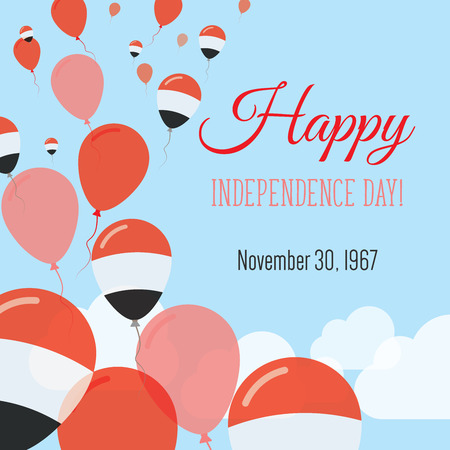 yemen: Independence Day Flat Greeting Card. Yemen Independence Day. Yemeni Flag Balloons Patriotic Poster. Happy National Day Vector Illustration. Illustration