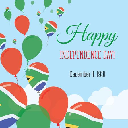 독립 기념일 평면 인사말 카드. 남아 프리 카 공화국 독립 기념일. 남아프리카 플래그 풍선 애국 포스터입니다. 해피 전국 하루 벡터 일러스트 레이 션.