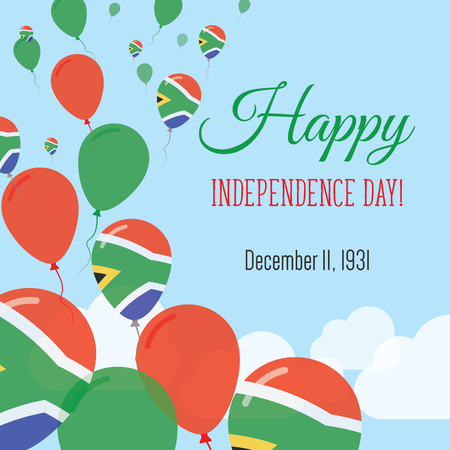 Independence Day Flat Greeting Card. South Africa Independence Day. South African Flag Balloons Patriotic Poster. Happy National Day Vector Illustration.