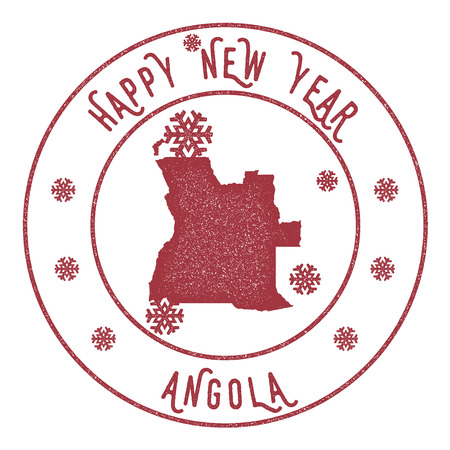 Retro Happy New Year Angola Stamp. Stylised rubber stamp with county map and Happy New Year text, vector illustration. Illustration