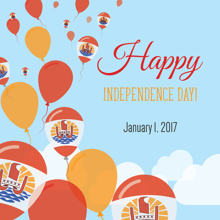 Independence Day Flat Greeting Card. French Polynesia Independence Day. French Polynesian Flag Balloons Patriotic Poster. Happy National Day Vector Illustration.