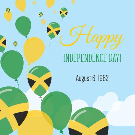 독립 기념일 평면 인사말 카드. 자메이카 독립 기념일. 자메이카 플래그 풍선 애국 포스터. 해피 전국 하루 벡터 일러스트 레이 션. 일러스트
