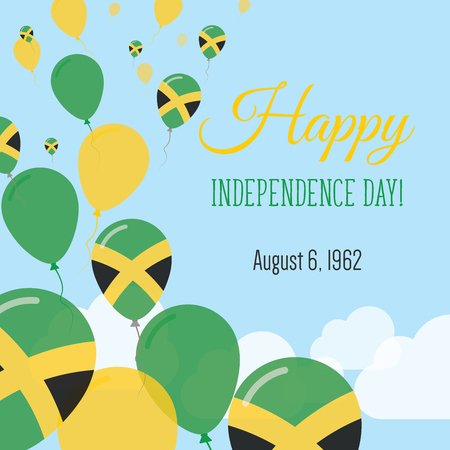 jamaican: Independence Day Flat Greeting Card. Jamaica Independence Day. Jamaican Flag Balloons Patriotic Poster. Happy National Day Vector Illustration.