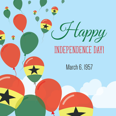 Independence Day Flat Greeting Card. Ghana Independence Day. Ghanaian Flag Balloons Patriotic Poster. Happy National Day Vector Illustration.