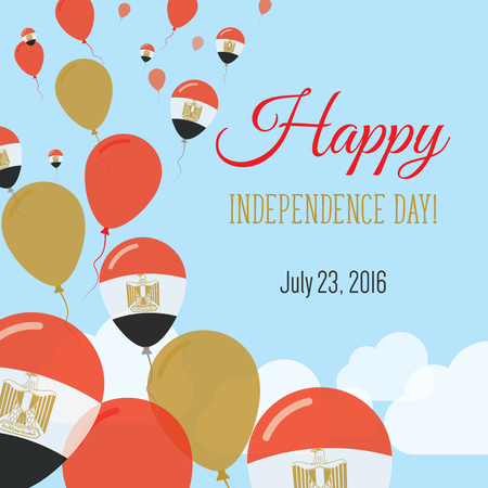 Independence Day Flat Greeting Card. Egypt Independence Day. Egyptian Flag Balloons Patriotic Poster. Happy National Day Vector Illustration.