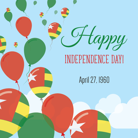 Independence Day Flat Greeting Card. Togo Independence Day. Togolese Flag Balloons Patriotic Poster. Happy National Day Vector Illustration.