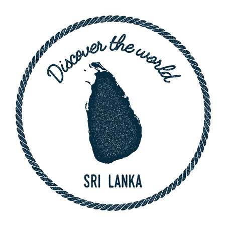 postmark: Vintage discover the world rubber stamp with Sri Lanka map. Hipster style nautical postage stamp, with round rope border. Vector illustration. Illustration
