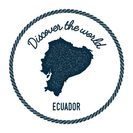 Vintage discover the world rubber stamp with Ecuador map. Hipster style nautical postage stamp, with round rope border. Vector illustration.