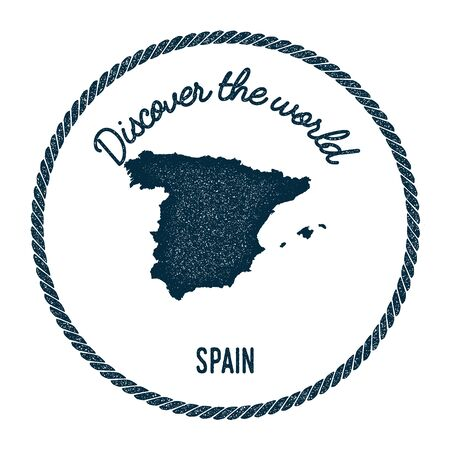 Vintage discover the world rubber stamp with Spain map. Hipster style nautical postage stamp, with round rope border. Vector illustration.