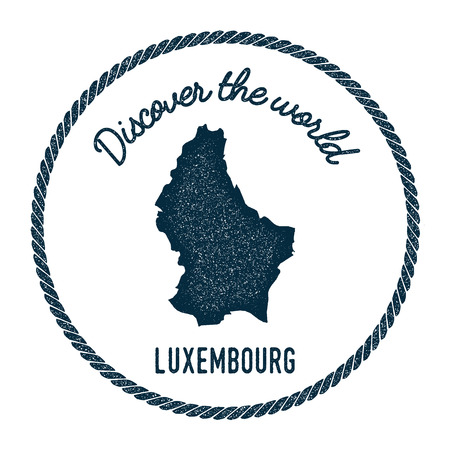 Vintage discover the world rubber stamp with Luxembourg map. Hipster style nautical postage stamp, with round rope border. Vector illustration.