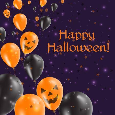 Halloween balloons left greeting card black and orange colored halloween balloons left greeting card black and orange colored all saints day poster vector m4hsunfo