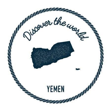 Vintage discover the world rubber stamp with Yemen map. Hipster style nautical postage stamp, with round rope border. Vector illustration.