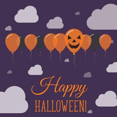 Halloween balloon greeting card black and orange colored all halloween balloons flat row greeting card black and orange colored all saints day poster m4hsunfo Gallery